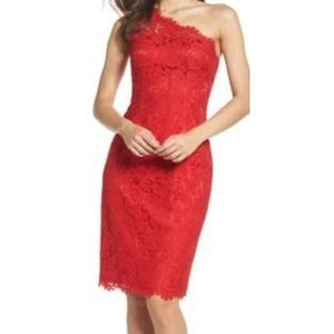 Eliza J dress red one shoulder lace